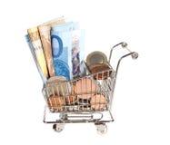 货币大量购物 免版税库存图片