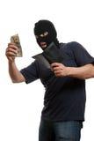 货币强盗满足的窃取的作为钱包 图库摄影
