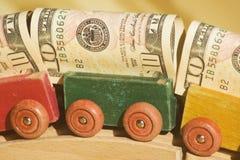 货币无盖货车 库存图片