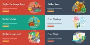 货币概念性横幅设计 库存图片