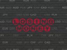 货币概念:在墙壁背景的丢失的金钱 免版税库存图片