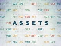 货币概念:在数字资料纸背景的财产 库存图片