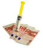 货币欧元注射器 库存图片