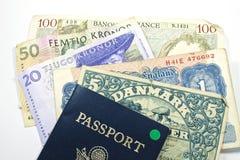 货币欧洲护照 库存照片