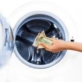 货币洗衣店的罪行概念 免版税库存照片