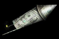 货币火箭 图库摄影