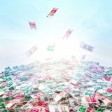 货币的概念性例证在天空backg的现金 免版税图库摄影