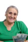 货币老妇人 免版税库存图片