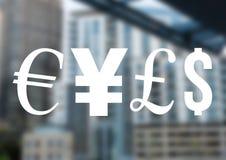 货币金钱象在城市 库存例证