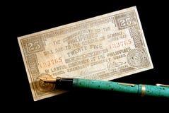 货币钢笔葡萄酒战争 免版税图库摄影