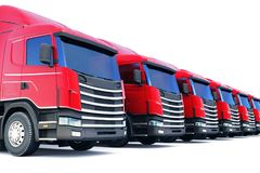 货物卡车行在白色隔绝的 库存图片