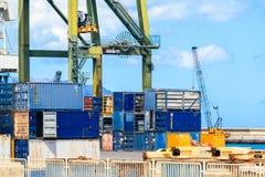 货物口岸在圣克鲁斯de特内里费岛,加那利群岛 库存照片