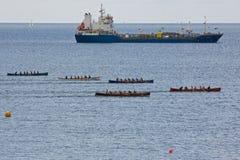 货物竟赛者英国船的falmouth gig 免版税库存图片