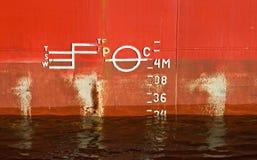 货物船身红色船纹理 免版税库存图片