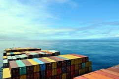 货箱船航行通过镇静海洋 免版税库存照片