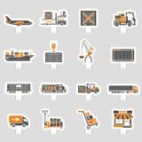 货运和包装的两种颜色的贴纸集合 免版税图库摄影