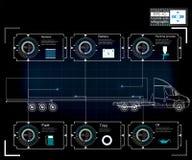 货运和运输Infographics  汽车infographics模板  Hud样式 库存照片