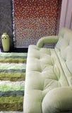 质朴的绿色居住的现代空间沙发 免版税库存照片