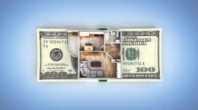 购买或付款的概念安置的公寓布局与堆金钱美国人在蓝色隔绝的一百元钞票 库存例证