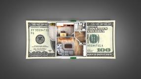 购买或付款的概念安置的公寓布局与堆金钱美国人在黑色隔绝的一百元钞票 库存例证