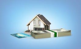 购买或付款的概念安置的议院有堆的金钱美国人一百元钞票和被隔绝的信用卡  向量例证