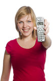 购买权显示拿着显示妇女的电话 图库摄影