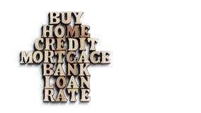购买,家,信用,抵押,银行,贷款,率 从木信件的词在白色背景 概念 免版税库存照片