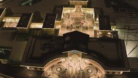 购物中心被点燃的大厦屋顶上面天空视图在冬日 股票录像