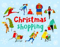 购物人集合 圣诞节销售字法 编组人 免版税库存图片