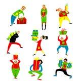购物人集合 圣诞节销售汇集 编组人 免版税库存图片