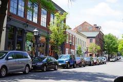 购物和停车处在历史的亚历山大,弗吉尼亚 免版税库存图片