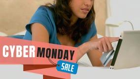 购物在网上在数字片剂的星期一网络文本和妇女 股票录像