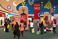 购物在赖买丹月Eid AlFitr销售Illustrat期间的回教人民 库存照片