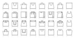购物带来简单的黑线象传染媒介集合 皇族释放例证