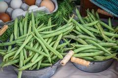 购物新鲜蔬菜在地方农夫市场上 图库摄影