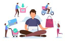 购物的在线处理 解答营销概念 数字式付款 平的动画片缩样字符 传染媒介例证设计 免版税库存照片