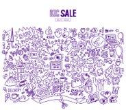 购物的大销售横幅模板 免版税库存照片