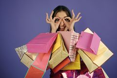 购物的性感的妇女顾客微笑举行袋子 一个肉欲的性感的女孩的时尚画象 性感的购物妇女 库存照片