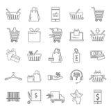 购物的简单的普遍线象为网adn流动设计设置了 库存例证