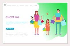 购物的网页幸福家庭母亲父亲,女孩 向量例证