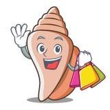 购物的逗人喜爱的壳字符动画片 库存图片