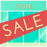 购物的销售背景 动画片样式 与销售标志的零售店窗口 r 库存例证