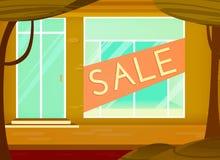 购物的销售背景 动画片样式 与销售标志的零售店窗口 r 向量例证