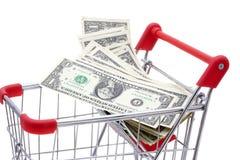 购物车充分的货币购物 免版税库存照片