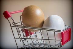 购物车用两个鸡鸡蛋 库存照片