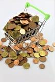 购物车的图象有硬币的 库存照片