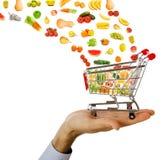 购物车飞行食物产品 库存照片