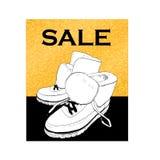 购物销售与shjoes的飞行物模板 推销活动豪华横幅,价牌,折扣贴纸,徽章,海报为 库存例证