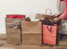 购物,圣诞节购物概念,文本的空间 大销售额 免版税库存图片