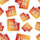 贴纸无缝的样式背景象的销售50%% B 图库摄影
